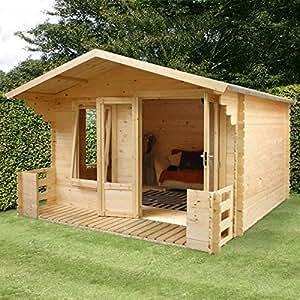 Nova 3,3m X 3.7M Newhaven Log Cabin con Veranda–Verano casas