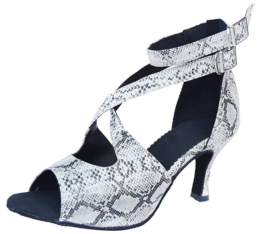 2.4IN Womens Practice Peep Toe Low Heel Latin Shoe Ballroom Social Tango Cha-cha 0042 Grey US Size10