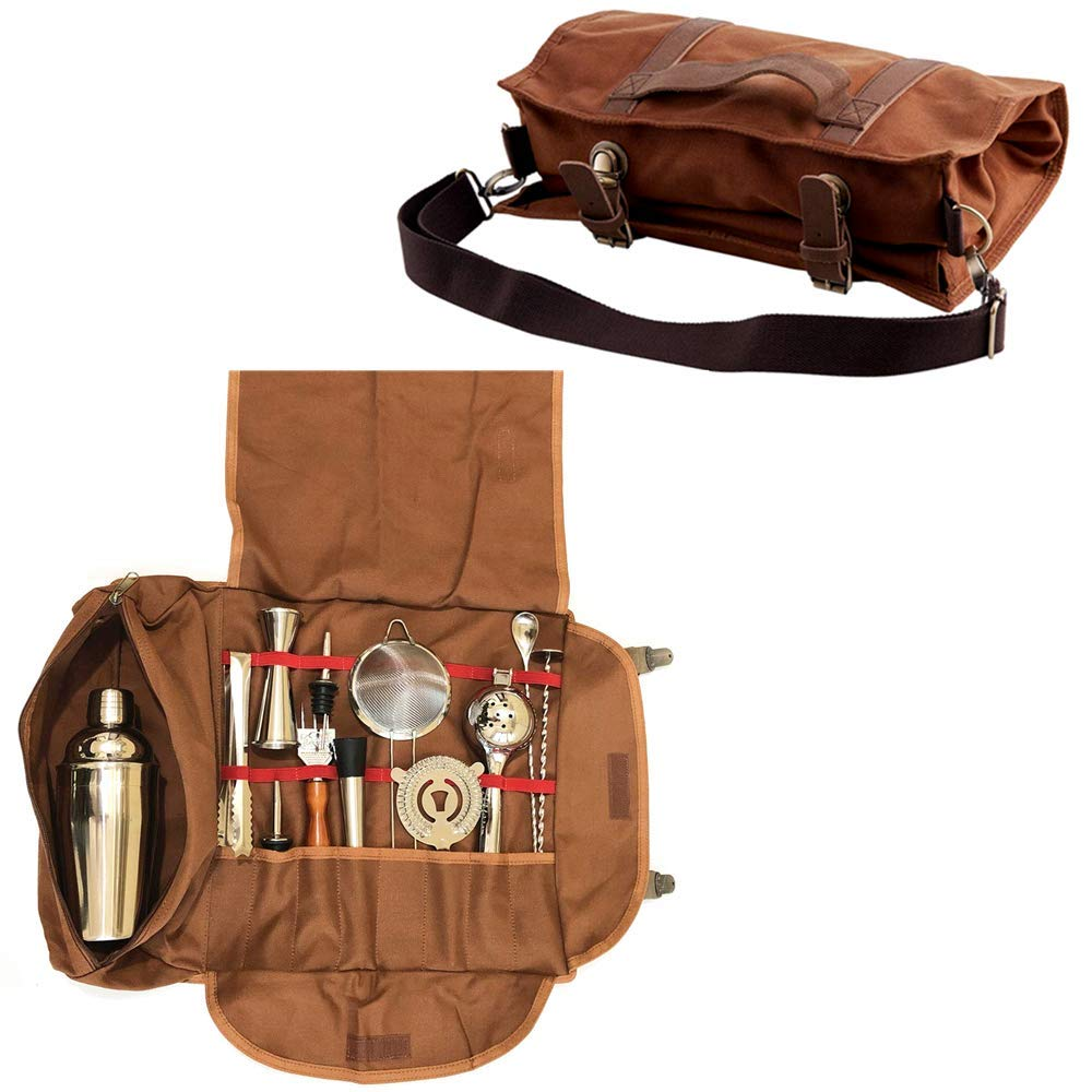Bartender Kit Bag - Portable Bar Tool Roll Bag, Perfect for traveling and Party Event - GJB01 (Bag+Tools)