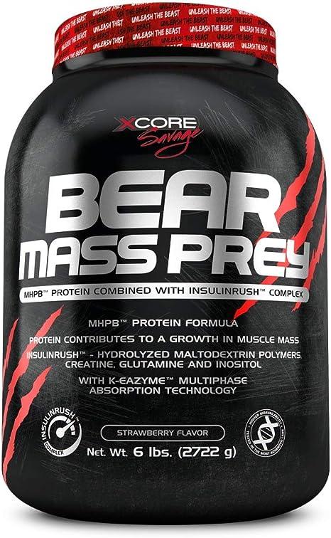 Xcore Nutrition Bear Mass Prey, Sabor Fresa y Crema - 2722 gr