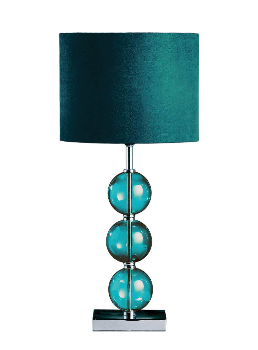 Premier Housewares Mistro Table Lamp With 3 Glass Balls, Chrome Base And  Faux Suede Shade   Teal: Amazon.co.uk: Lighting