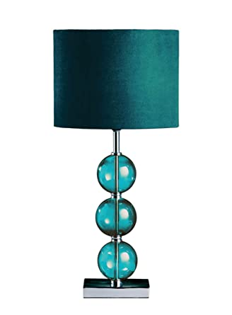 Premier housewares mistro table lamp with 3 glass balls chrome base premier housewares mistro table lamp with 3 glass balls chrome base and faux suede shade teal amazon lighting mozeypictures Image collections