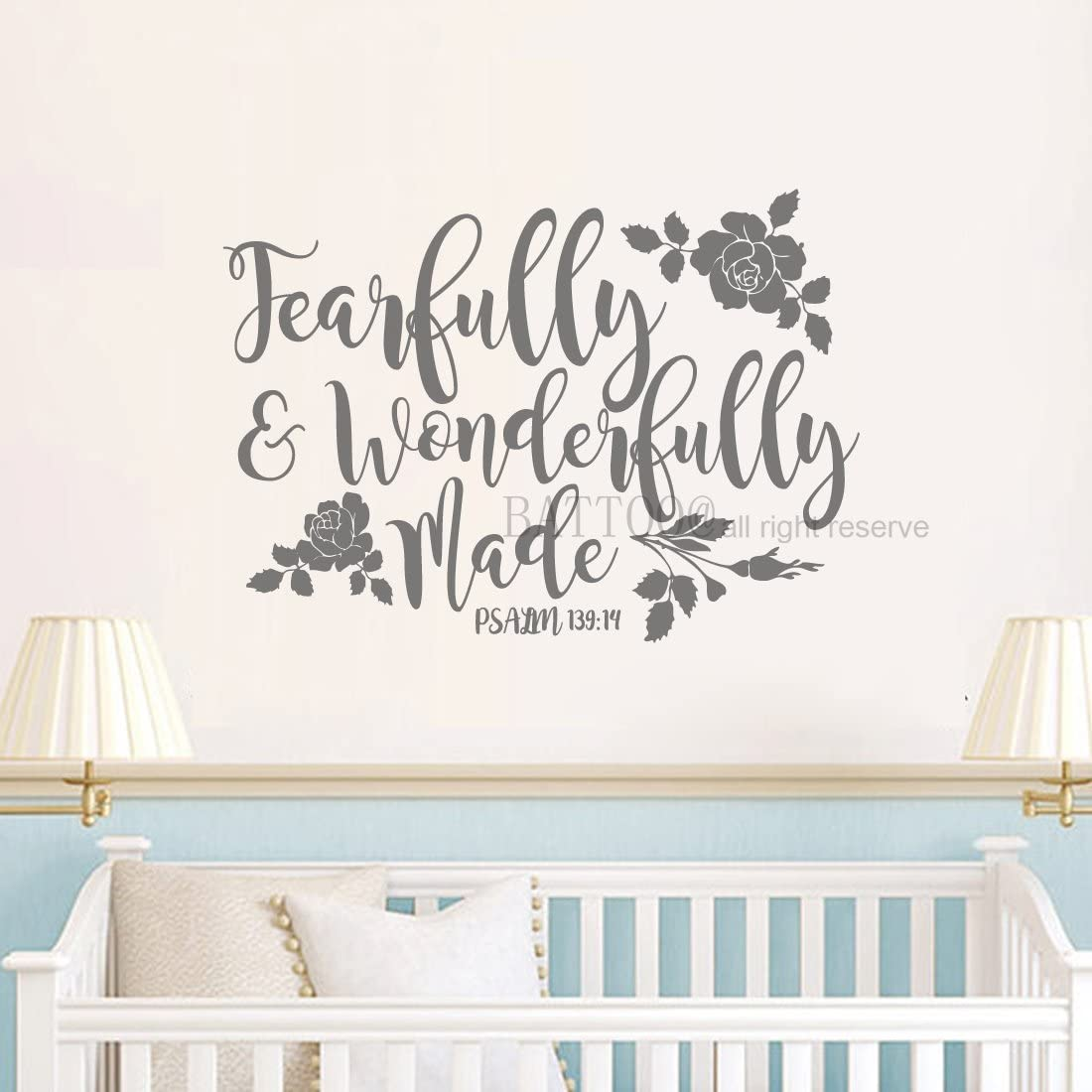 """BATTOO Fearfully and Wonderfully Made Decal Bible Verse Vinyl Wall Decal Scripture Wall Decal Nursery Decal for Girls Boys Bedroom Vinyl Wall Decal, 22"""" W by 16"""" H Dark Gray"""