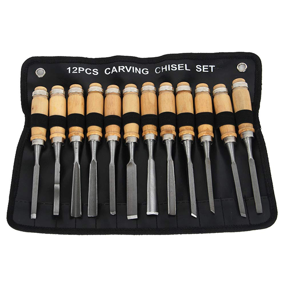 Wgwioo 12 Pcs Wood Carving Chisels Tool,For Carving Wood, Pumpkin, Soap, Rubber For Beginners Kids Adults [Energy Class A] 19936