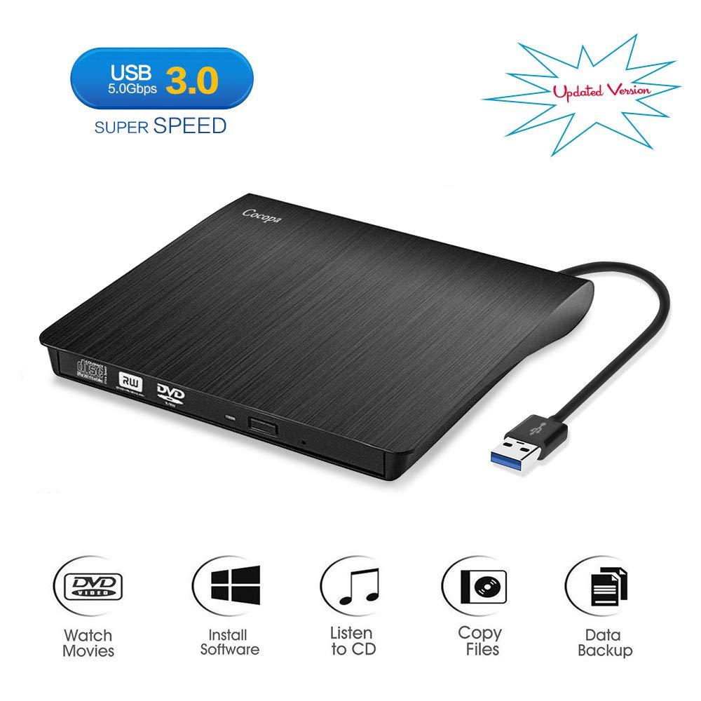 Cocopa External CD DVD Drive USB 3.0 Protable CD DVD +/-RW Drive Slim DVD/CD ROM Rewriter Burner Writer, High Speed Data Compatible with Laptop Desktop MacBook Windows10/8/7/XP/Vista/Mac OS