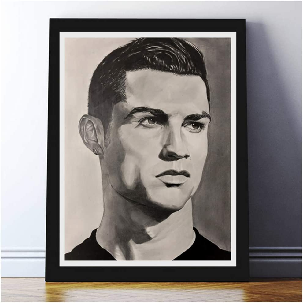 Amazon Com Aslkuyt Cristiano Ronaldo Pencil Drawing Portrait Sketch Poster Canvas Painting Art Print Modern Decorative Wall Pictures Living Room 20x28 In No Frame Posters Prints