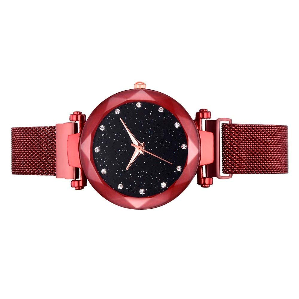Amazon.com: Fashion Casual Quartz Mesh Belt Watch Analog Wrist Watch Red: Clothing