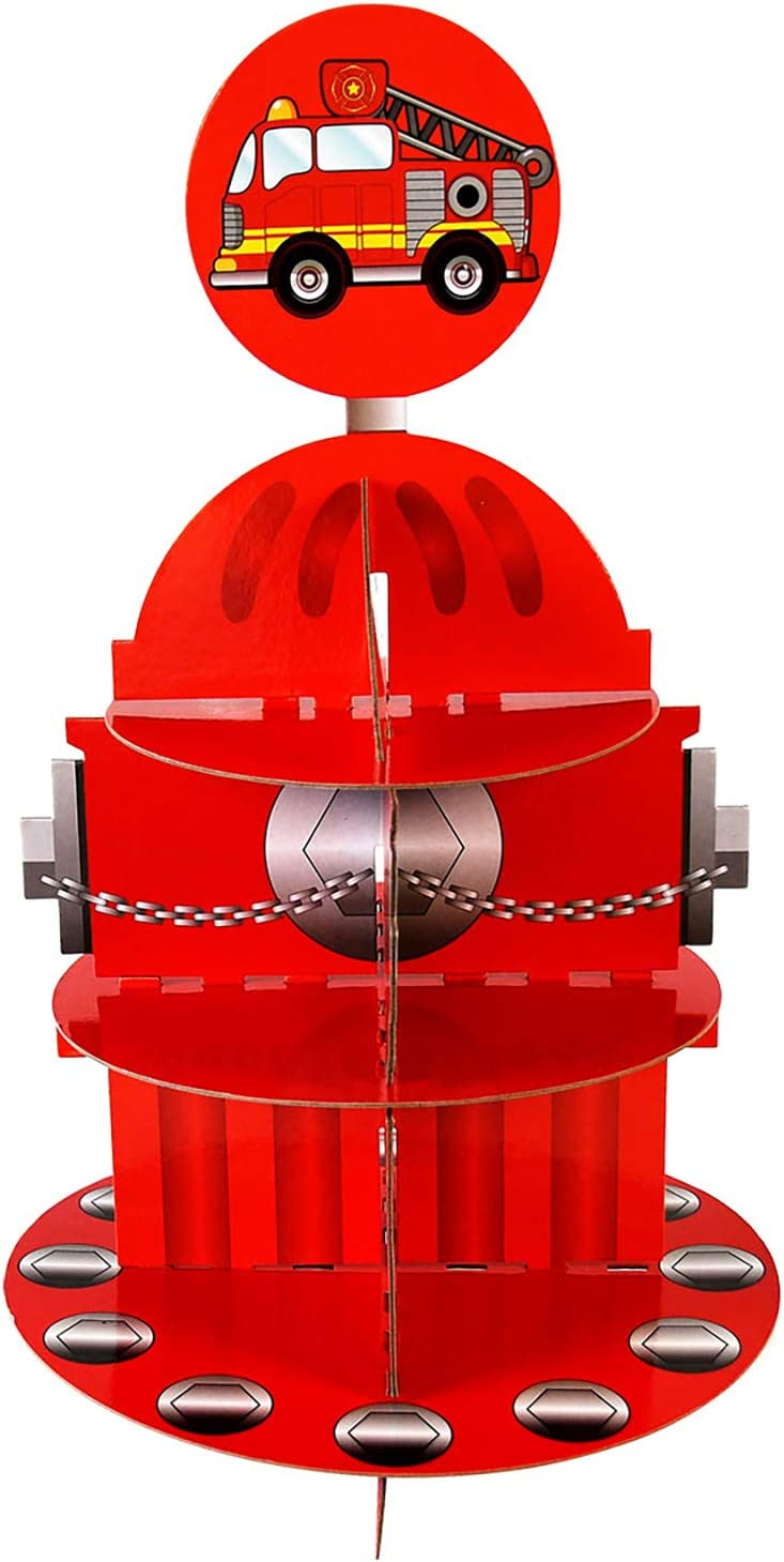 Fire Hydrant Cupcake Stand & Pick Kit, Fireman Birthday, Fire Engine Party, Decorations, 3 Tier Cardboard Firefighter Cupcake Stand, Party Supplies, Cake Decorations