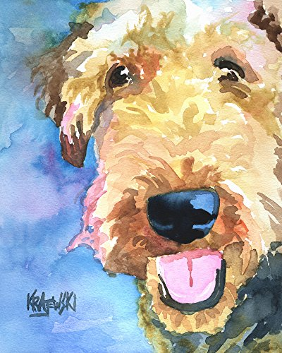 Airedale Terrier Dog Fine Art Print on 100% Cotton Watercolor Paper