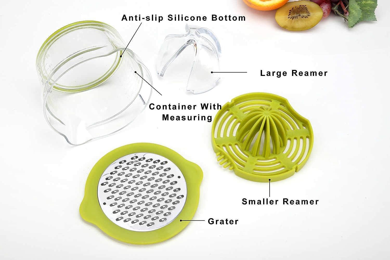 Citru-Manual Orange-Hand Squeezer Measuring Juicer Cup Grater Press Green Built-in Chopper