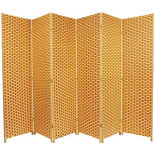 Oriental Furniture 6 ft. Tall Woven Fiber Room Divider - Natural/Rust - 6 Panel