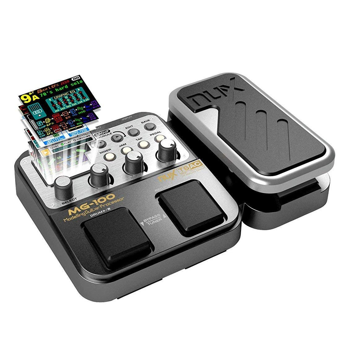 MG-100 Professional Multi-Effects Pedal Processor Musical Instrument Parts 40s Record 55 Effect Mode 10 Sound Di Box Electric Guitar and Bass Loop Amplifier Tube Pedal by Asmuse