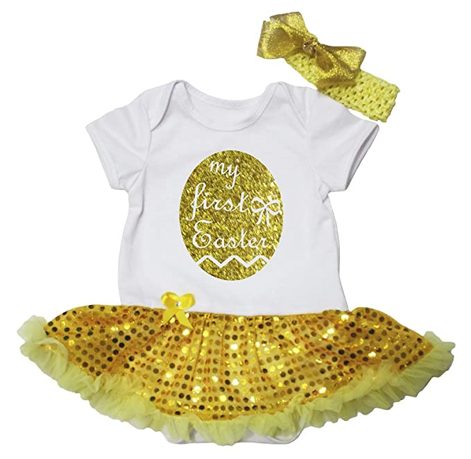 9986007a1497 Petitebella My First Easter White Bodysuit Yellow Sequins Tutu Nb-18m (0-3