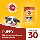 Pedigree Puppy Wet Dog Food, Chicken And Liver Chunks Flavour in Gravy with Vegetables, 30 Pouches ( 30 X 70 g )