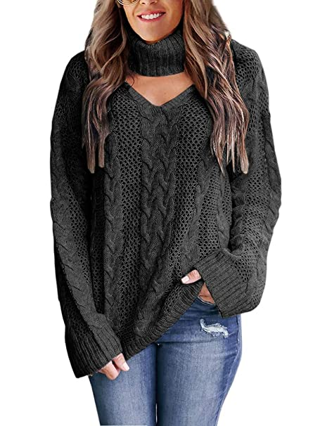 Womens Plus Size Sexy V Neck Sweaters Turtleneck Choker Tops Oversized  Cable Knit Chunky Pullover