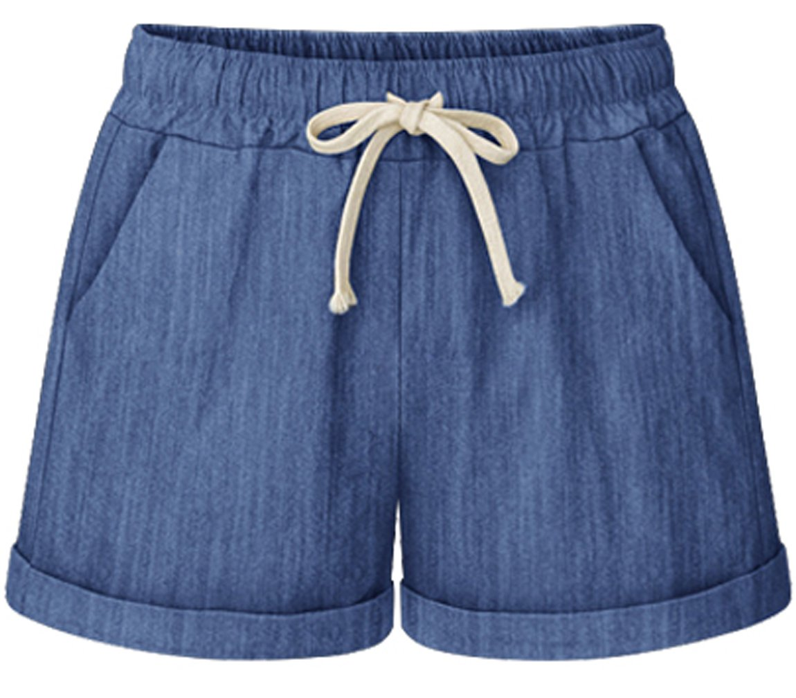 HOW'ON Women's Elastic Waist Casual Comfy Cotton Linen Beach Shorts with Drawstring Blue M