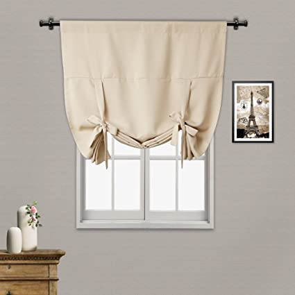 RHF Tie Up Shades  Rod Pocket Thermal Insulated Blackout Tie Up Curtain, 42  Inch