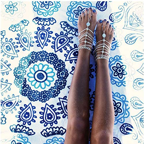 by YPT Anklets Bohemian Multi Layers Indian Coin Womens Anklet Foot Bracelet Barefoot Sandals Chain Strap Beach Accessories Jewelry for Women 1 PCs
