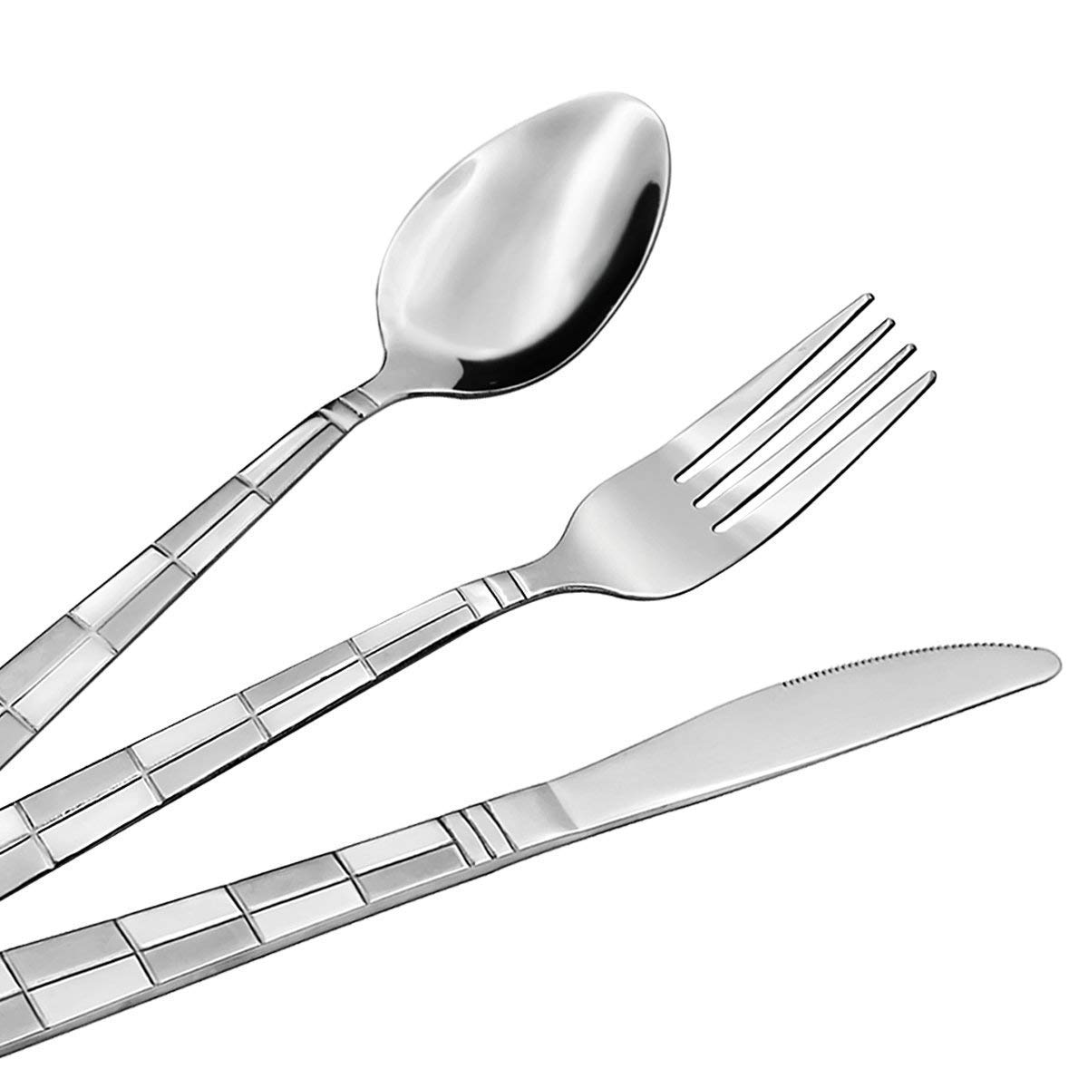 20 Piece Silverware Set, Checkered Frost Stainless Steel Flatware set Service for 4 by Hippih, Dishwasher Safe by HIPPIH (Image #3)