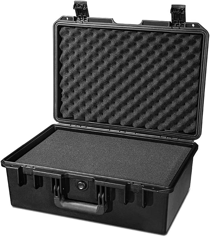 HUL Large Water Proof Military Style Hard Case With Pelican 1500 Style Customizable Pluck Foam Interior for SLR Cameras Test Instruments and Accessories