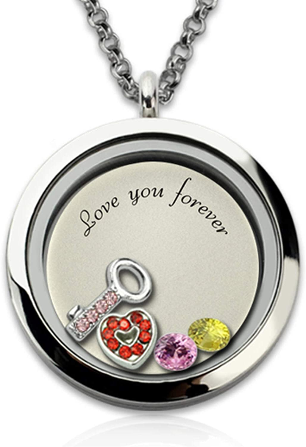 Getname Necklace Key to My Heart Floating Locket Customized 2 Birthstones Small Key and Heart Stainless Steel Pendant Necklace Necklace Locket Pendant