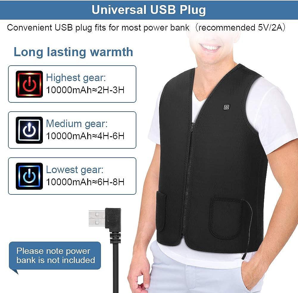 chaleco de carga USB de 3 niveles de calentamiento durante 8 horas Chaleco calefactado para hombres y mujeres chaleco ligero de fibra de poli/éster inteligente con carga USB chaleco suave y c/álido