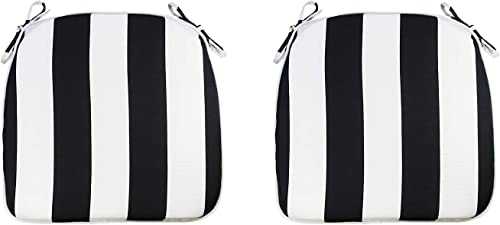FBTS Prime Outdoor Chair Cushions Set of 2 16x17 Inch Patio Seat Cushions Black and White Stripe Square Chair Pads