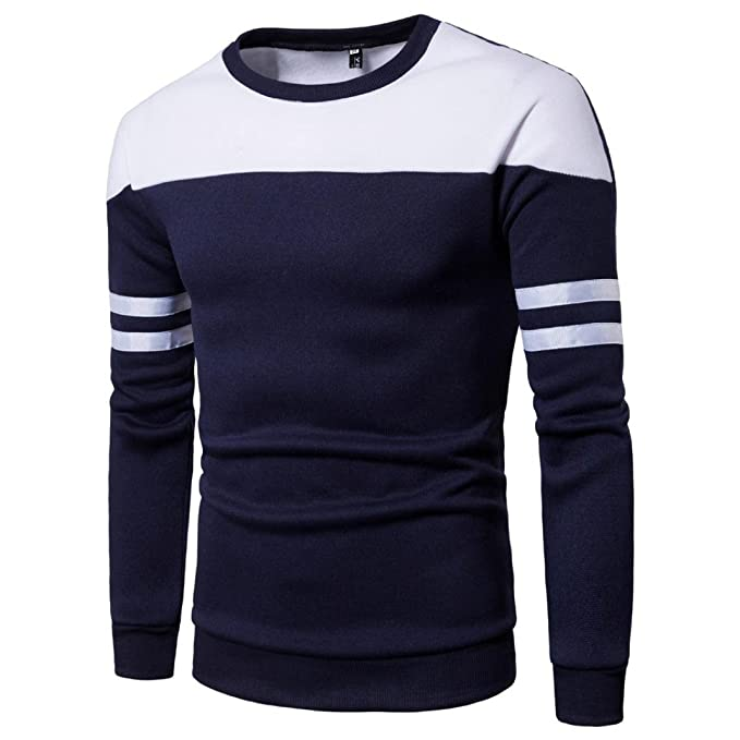 kaifongfu Mens Top,Long Sleeve Patchwork Pullover Stitching Sweatshirt Top for Mens Outwear Blouse Tee
