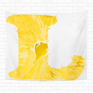 Topyee 60x80 Inch Tapestry Wall Hanging Yellow One Letter of Orange Alphabet Filled Solid Colors Home Decorative Tapestries Wall Blanket for Dorm Living Room Bedroom