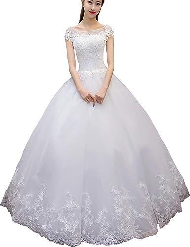 Yuxin Elegant Cap Sleeves Wedding Dresses 2020 Long Plus ...