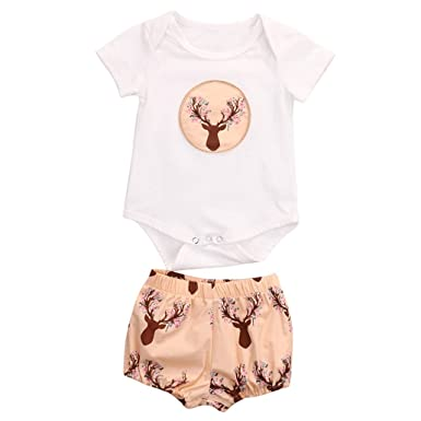 Newborn Infant Baby Girls 2 Color Deer Bird Flower Print Romper +Pants Set Bebe Vestidos