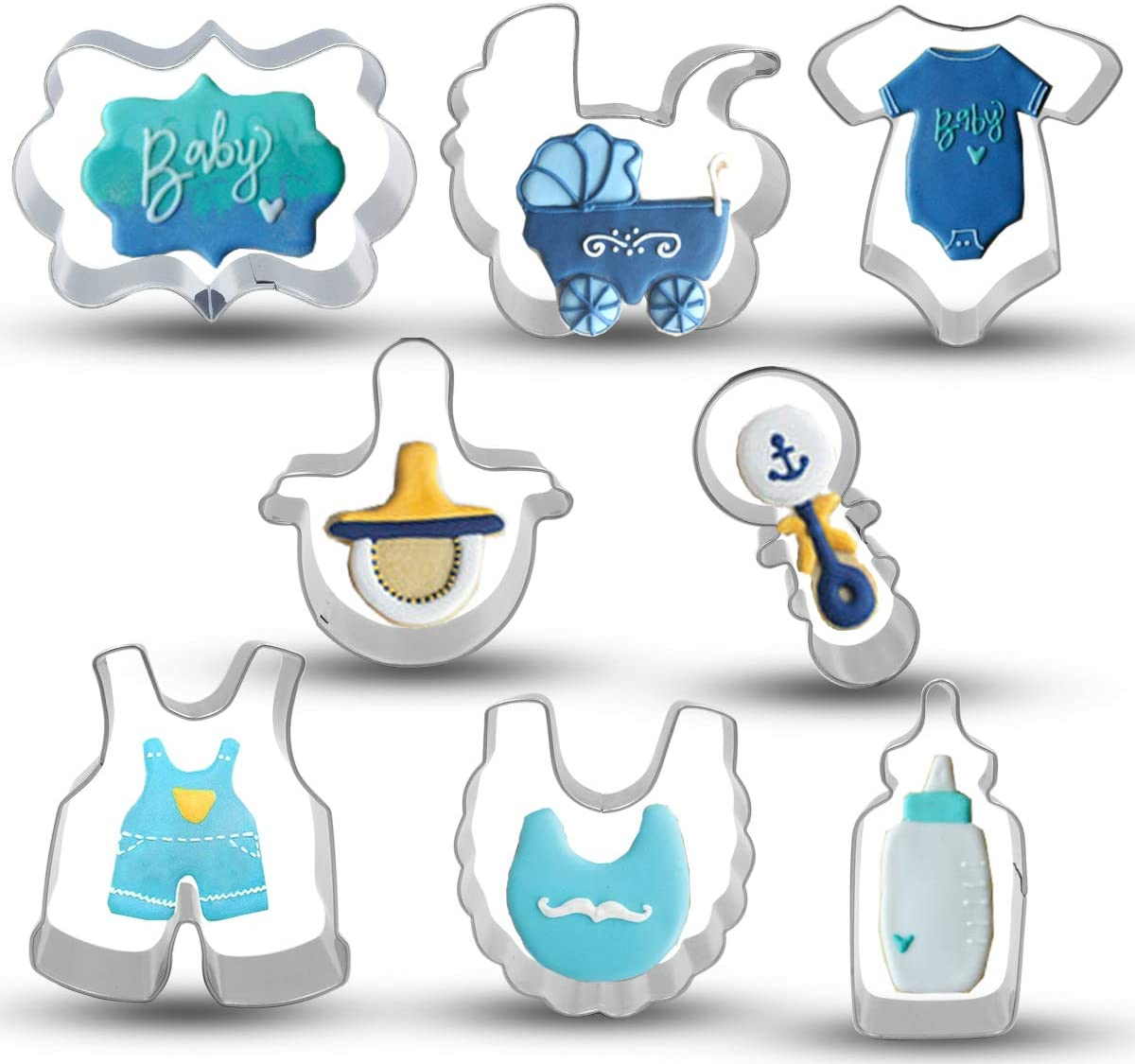 Bonropin Baby Shower Cookie Cutter Set - 8 Piece Stainless Steel Cutters Molds Cutters for Making Onesie, Bib, Rattle, Bottle, Nipple, Brand, Baby Carriage, Baby Pants
