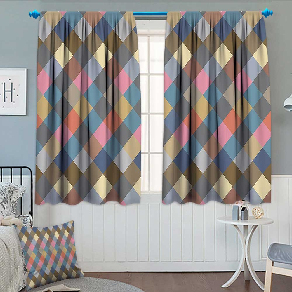 Geometric Decor Collection Thermal/Room Darkening Window Curtains Colorful Rhombus Rural Rustic Classical Traditional Tablecloth Design Print Customized Curtains 72''x63'' Soft Pink Cream Beige