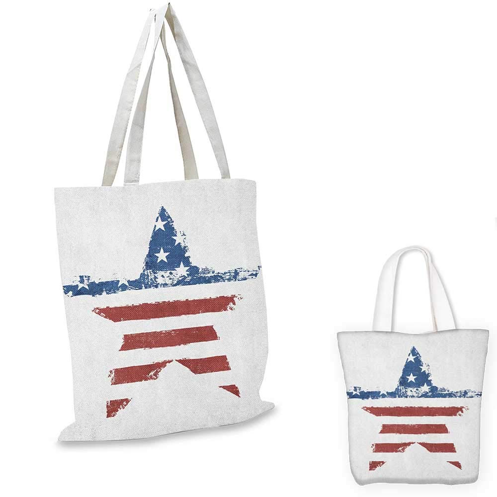 Grunge canvas messenger bag The American Flag Print as Star Shaped Symbol Stripes National Emblem Illustration canvas beach bag Navy Brown 12x15-10