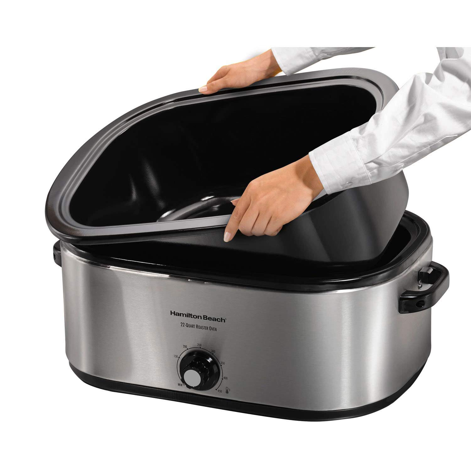 Hamilton Beach 32229R 22 Quart Stainless Steel Electric Roaster Oven, Silver