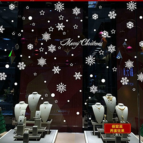 Mlm merry christmas decorations white snowflakes removable for Sticker fenetre noel