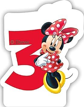 número 3 vela * * Minnie Mouse para niños Cumpleaños/Fiesta ...