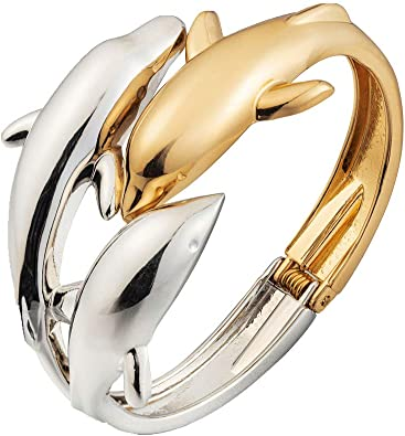 Ladies 925 Sterling Silver Bangle Dolphin Bracelet Gift Women's Jewelry UK Stock