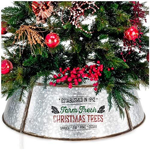 "KIBAGA Farmhouse Christmas Tree Collar - Authentic Easy Set Up 30"" Tree Ring/Tree Skirt Decorates Your Home for The Holidays"