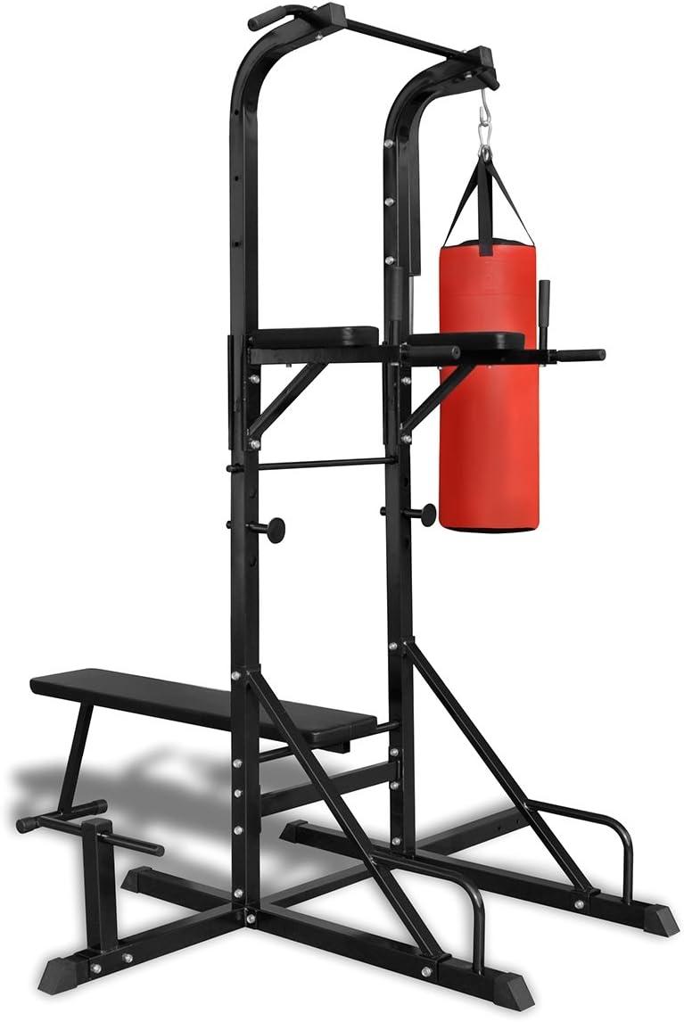 vidaXL Máquina de musculación con Banco,Saco de Boxeo,Fitness,máxima de 100kg,de vidaXL