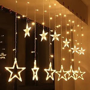 Estrella luz de la Cortina, EONANT 12 Stars 138 LED Luz de la Cortina con Iluminación de 8 Modos con Pilas para la Decoración de la Navidad Dormitorio de la Fiesta de la Boda (Warm White)