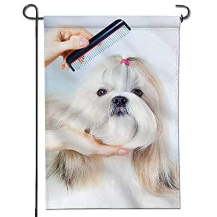 Amazoncom Scocici1588 Garden Flag Shih Tzu Dog Grooming With Comb