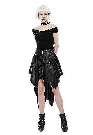 Falda punk gótica irregular con dobladillo para mujer, vintage ...