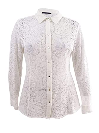 9525cb6fc76ea4 Tommy Hilfiger Womens Long Sleeve Lace Button Blouse at Amazon Women's  Clothing store: