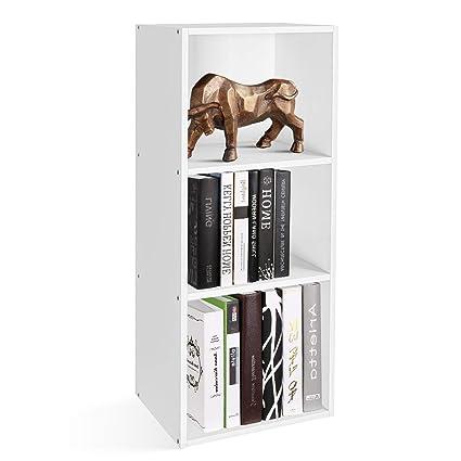 Homfa Estantería para Libros Estantería de Pared Librería con 3 Niveles para Salón Estudio Blanca 30x23.5x79.5cm
