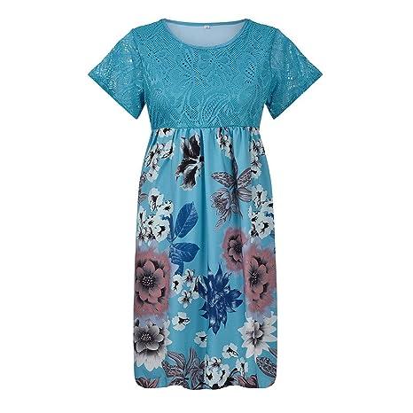 Vestido de Manga Corta SUNNSEAN Mini Faldas con Estampado de ...