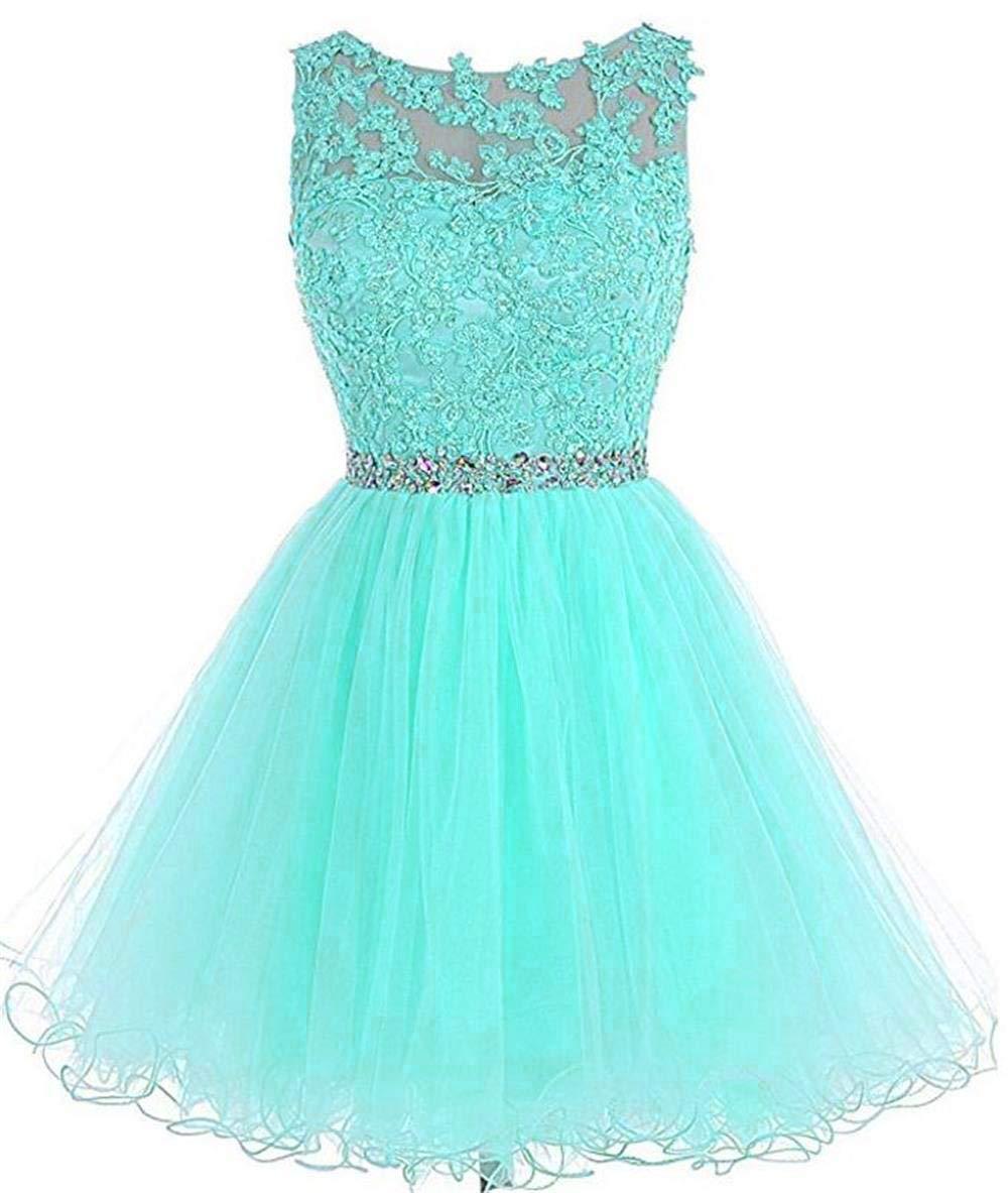 Dydsz Homecoming Dresses Short Prom Party Dress for Women Juniors Plus Size  2019 D126 Turquoise 2