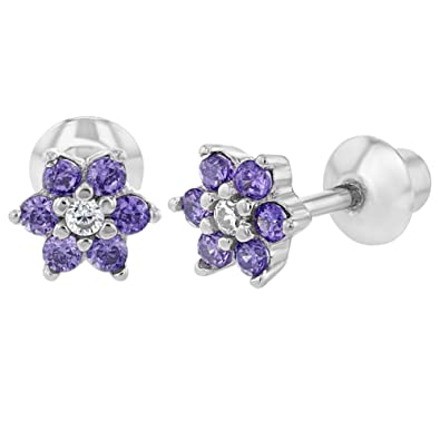 15e3ae1af 925 Sterling Silver CZ Purple Flower Infant Toddler Baby Earrings Screw Back:  Amazon.co.uk: Jewellery