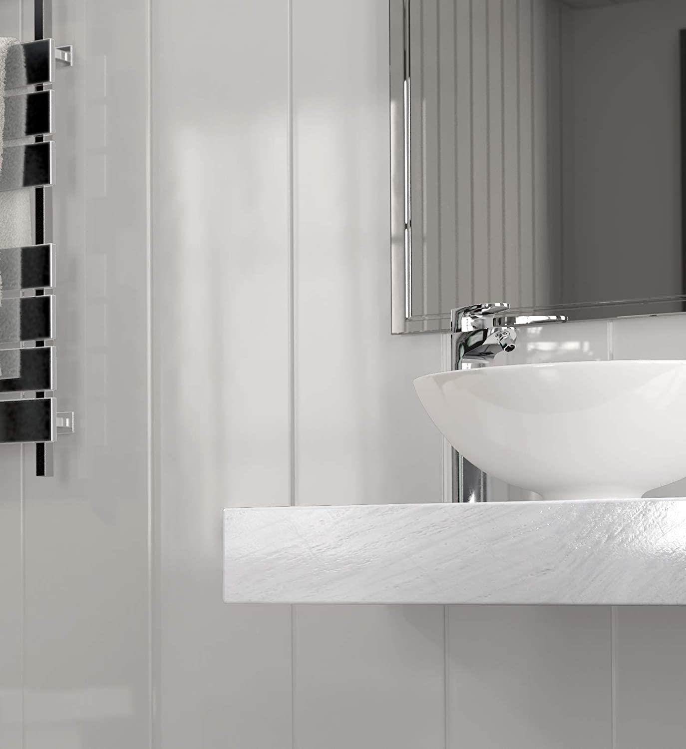 8 Pack The Cladding Store Gloss White Bathroom PVC Cladding Shower Ceiling Kitchen Wet Wall Panels UPVC Shower Panels