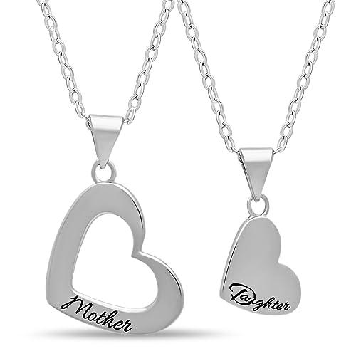 Nuovi Prodotti 4d2ef 9bccc 925 sterling Silver Mother Daughter Heart Necklace set per mamma e figlia –  placcato argento con incisione cuore collane per madre ciondolo doppio ...